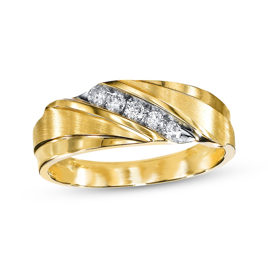 mens wedding rings gold men s wedding band 1 4 ct tw diamonds 10k yellow gold 5816