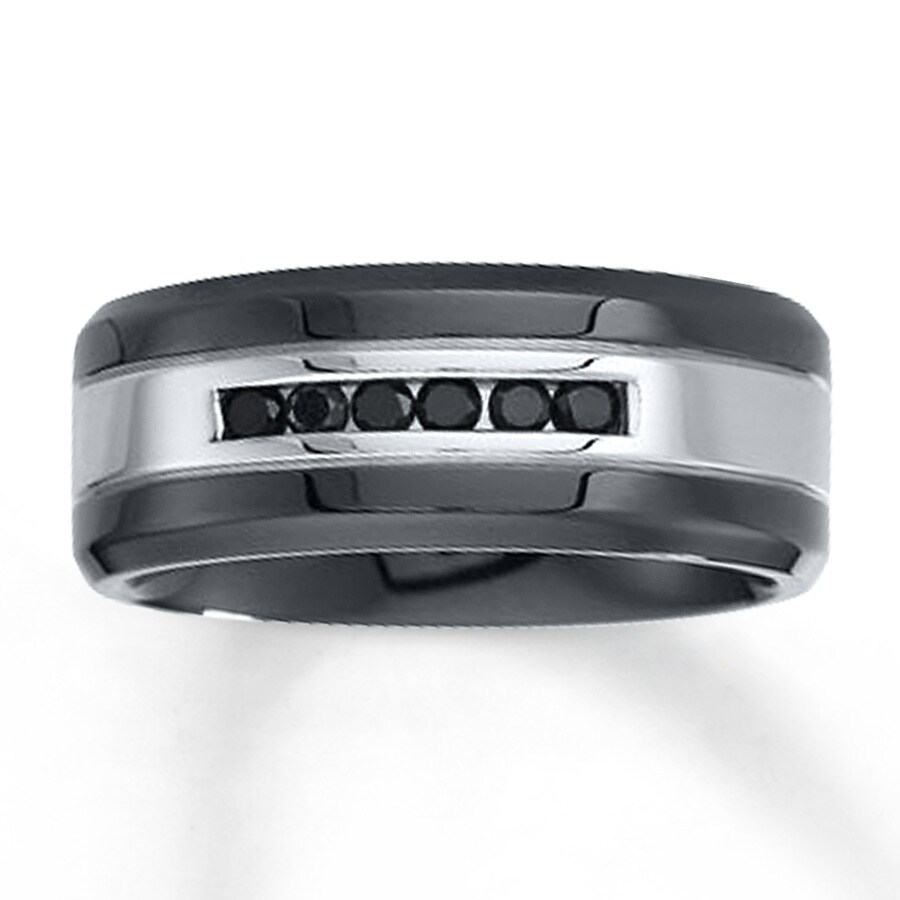 Kay Men s 9mm Wedding Band 1 4 ct tw Black Diamonds Stainless Steel