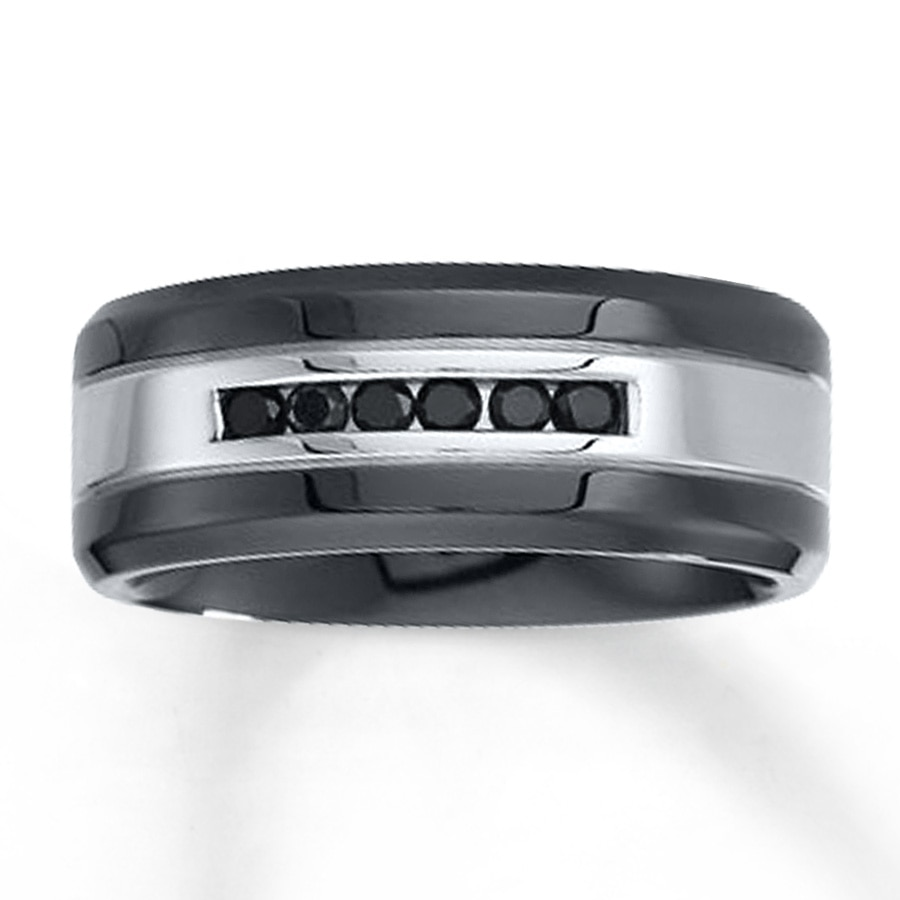 Kay men39s 9mm wedding band 1 4 ct tw black diamonds for Kay jewelers wedding rings for men
