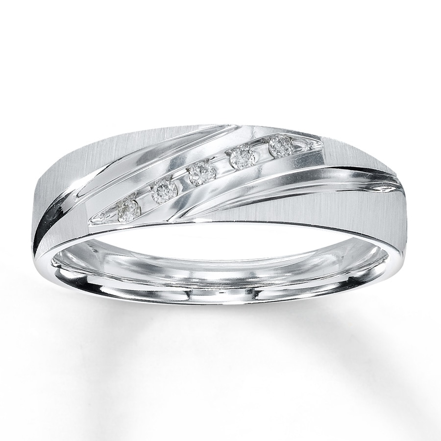 kay - men's wedding band 1/15 ct tw round-cut 10k white gold