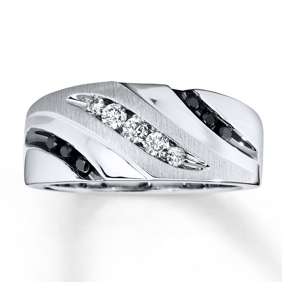 kay - men's diamond band 1/3 ct tw black/white 10k white gold
