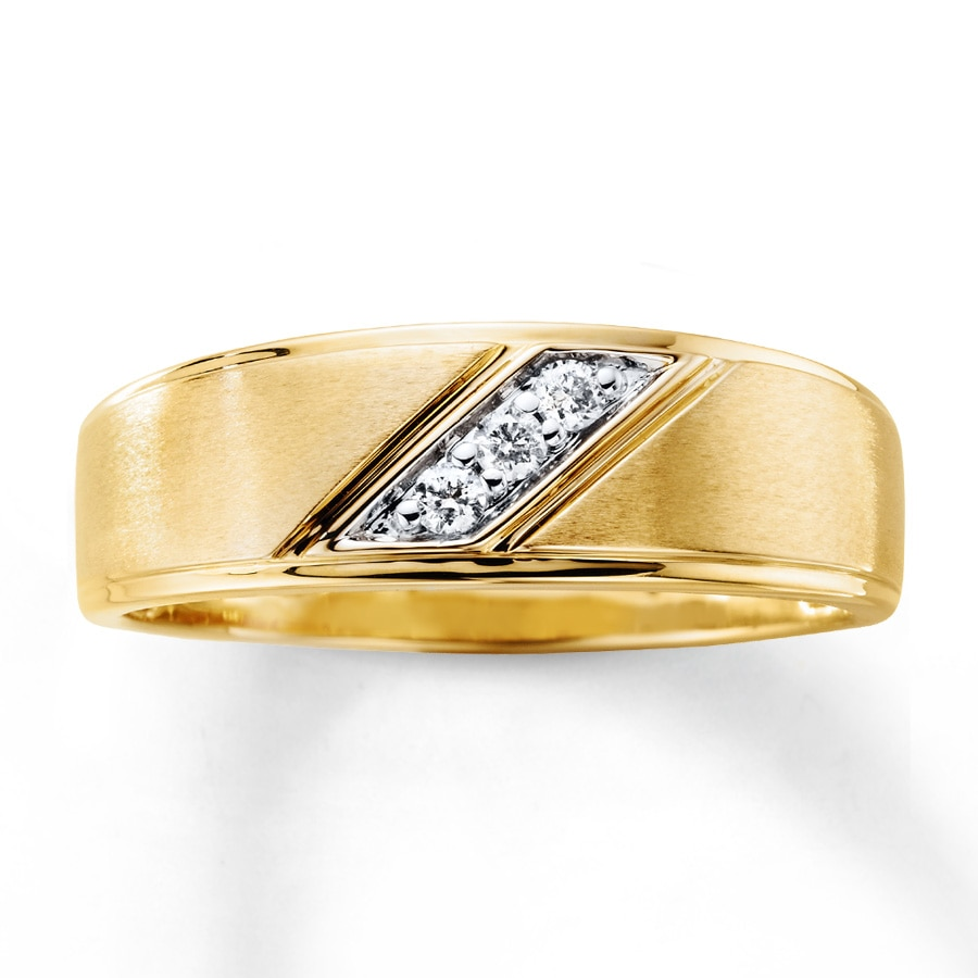 5 Stone Flush Set Diamond Wedding Band For Men In 18K Yellow Gold ...