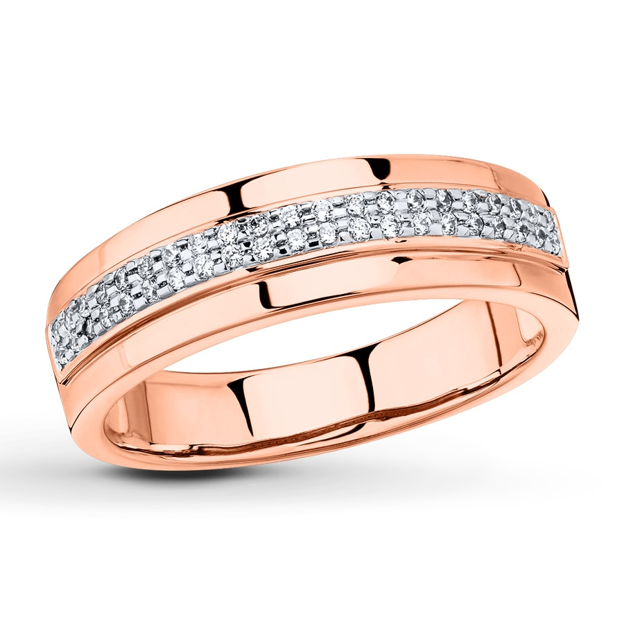 Kay Men s Wedding Band 1 6 ct tw Diamonds 10K Rose Gold