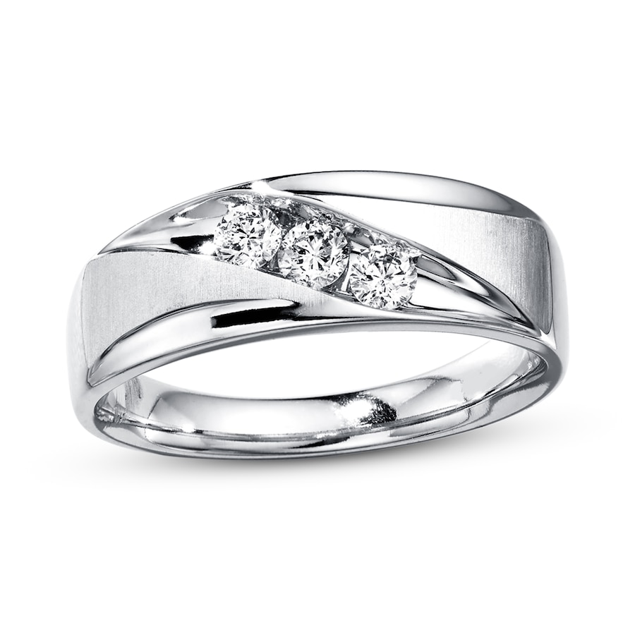 Mens Wedding Bands With Diamonds.Men S Wedding Band 3 8 Ct Tw Diamonds 10k White Gold