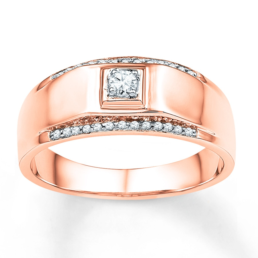Men S Wedding Band 1 6 Ct Tw Diamonds 10k Rose Gold Tap To Expand