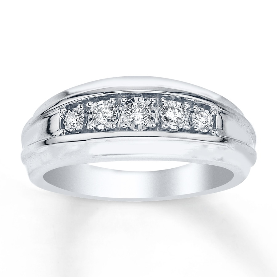 Kay Men s Wedding Ring 1 5 ct tw Diamonds 10K White Gold