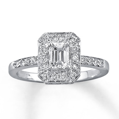 Diamond Engagement Ring 1 ct tw Emerald-cut 14K White Gold Kay Jewelers