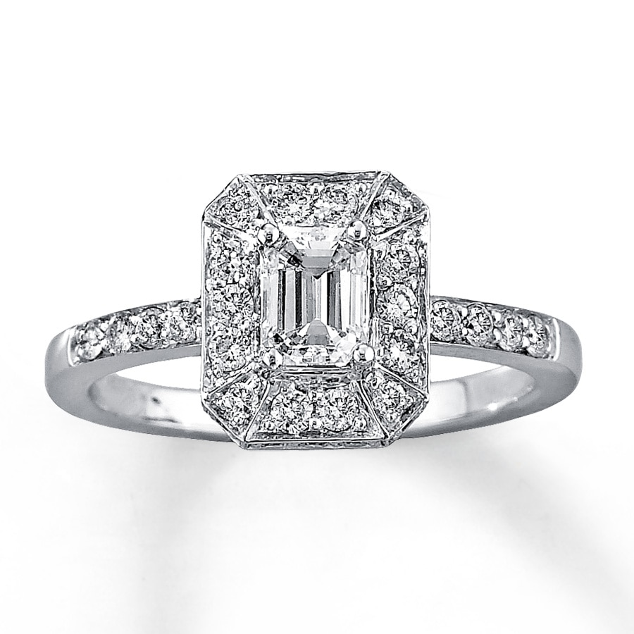 Wedding Rings Kay: Diamond Engagement Ring 1 Ct Tw Emerald-cut 14K White Gold