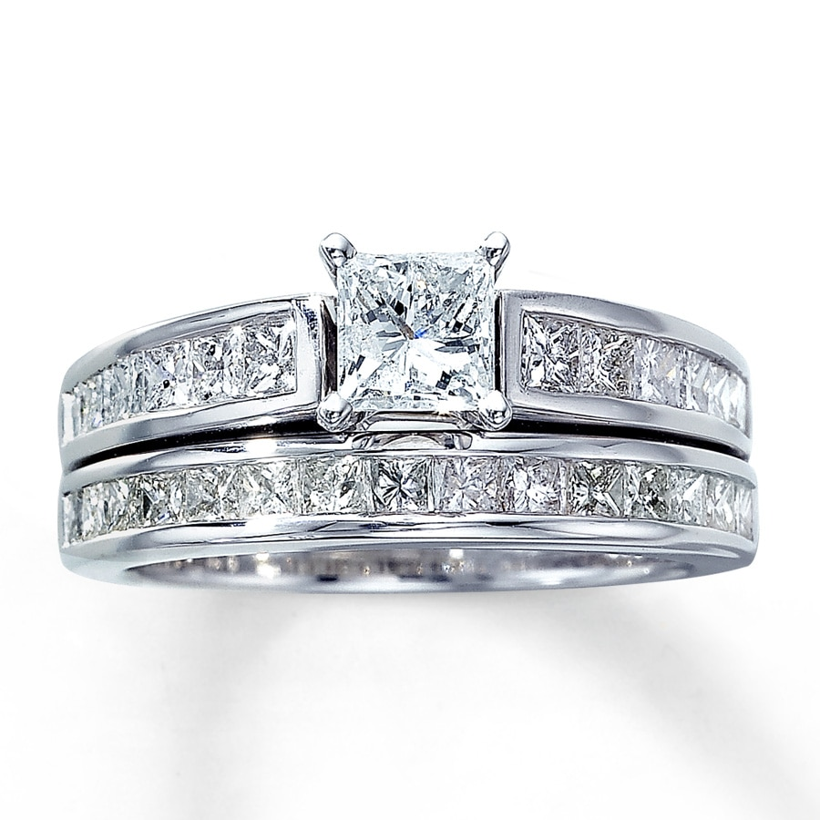 kay - diamond bridal set 2 ct tw princess-cut 14k white gold