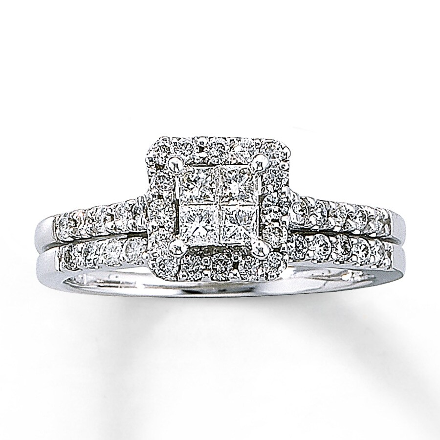 Kay Diamond Bridal Set 5 8 ct tw Princess cut 14K White Gold