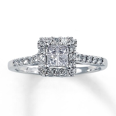 Diamond Engagement Ring 1/2 ct tw Princess-Cut 14K White Gold Kay Jewelers