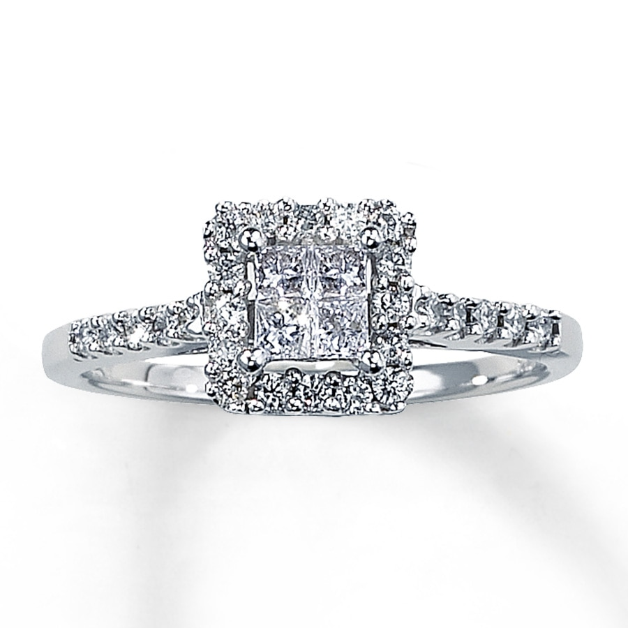 Kay Diamond Engagement Ring 1 2 ct tw Princess Cut 14K White Gold