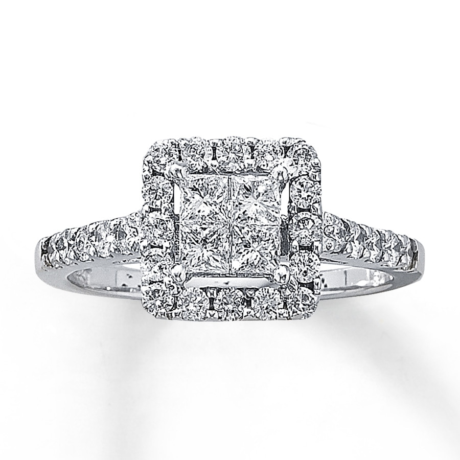 kay - diamond engagement ring 1 ct tw diamonds 14k white gold