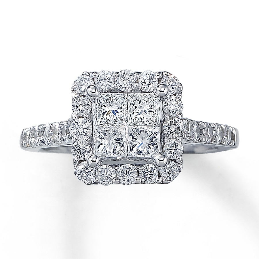 kay - diamond engagement ring 1-1/2 ct tw princess-cut 14k white gold
