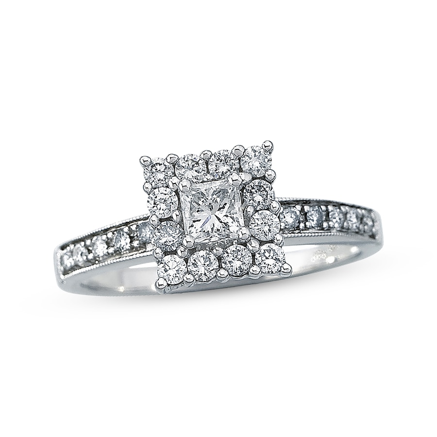 Kay Diamond Engagement Ring 5 8 ct tw Princess cut 14K White Gold