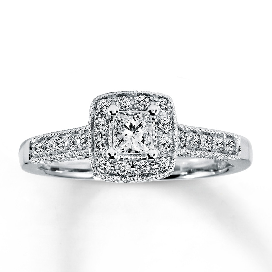 Email Diamond Engagement Ring 12 ct tw Princess-cut 14K White Gold