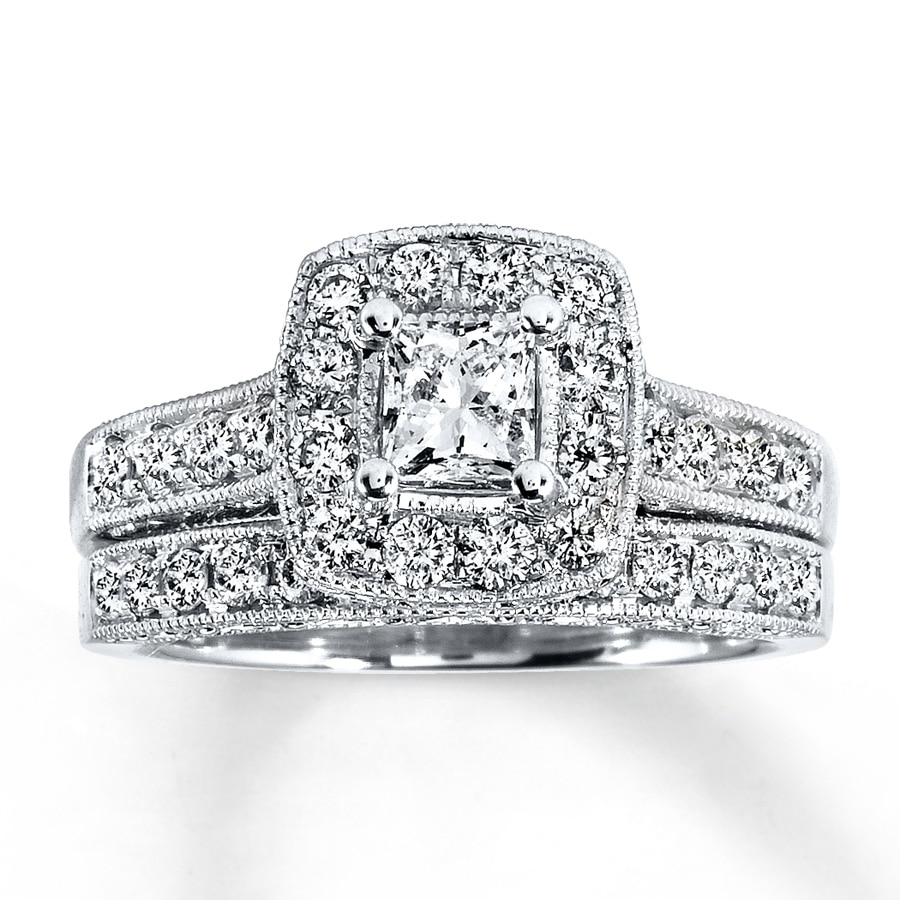 Kay Diamond Bridal Set 1 1 5 ct tw Princess Cut 14K White Gold