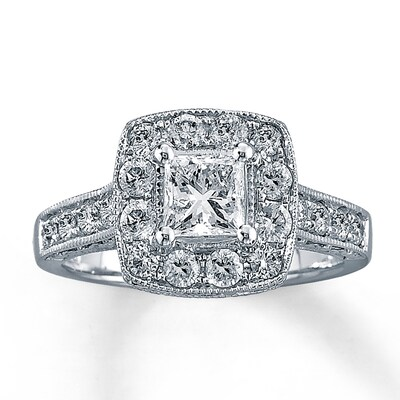 Diamond Engagement Ring 1-1/2 ct tw Princess-cut 14K White Gold Kay Jewelers