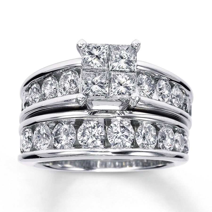 Wedding Rings Kay: Diamond Bridal Set With Princess Cut Engagement Ring And
