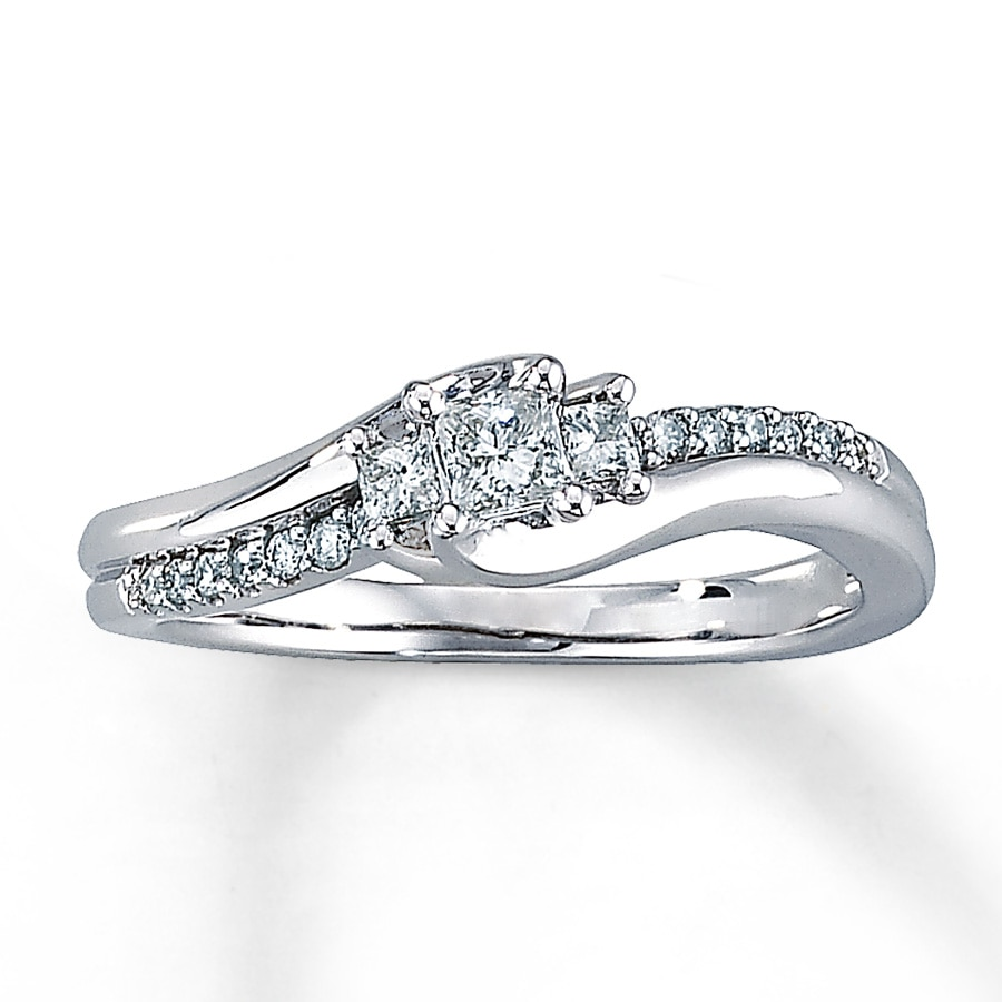 Email Diamond Engagement Ring 13 ct tw Princess-cut 10K White Gold