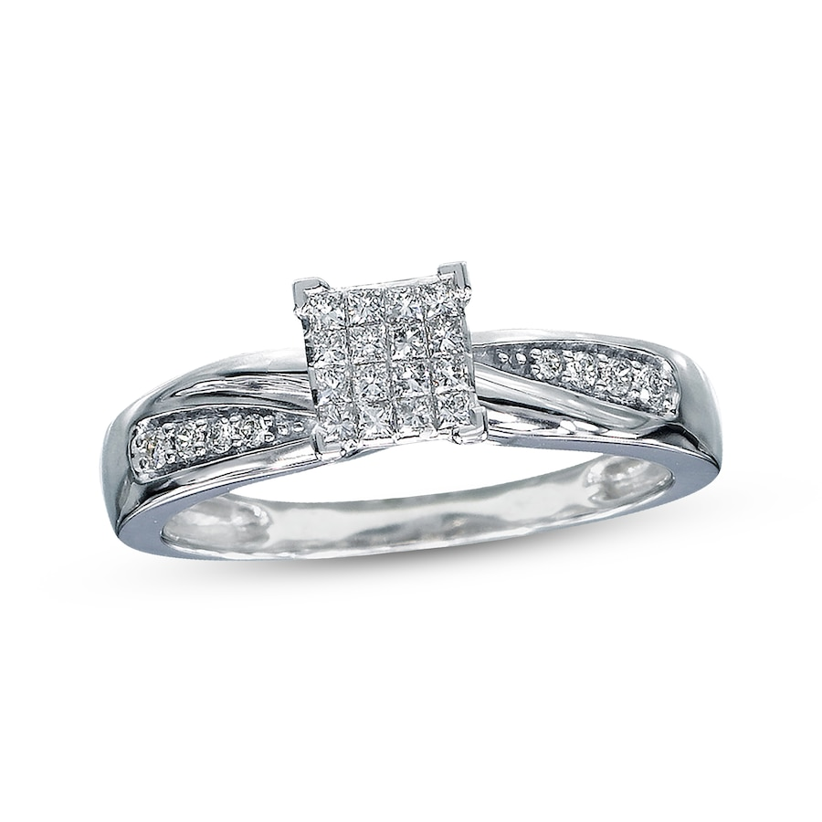 kay - diamond engagement ring 1/5 ct tw diamonds 10k white gold