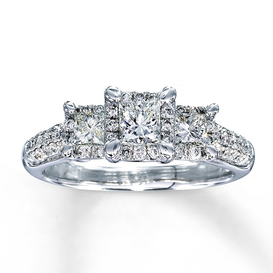 hover to zoom - Princess Cut Diamond Wedding Rings