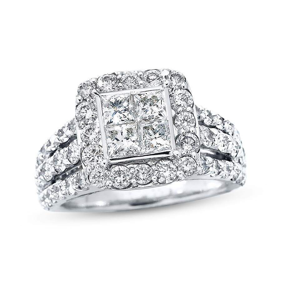 Wedding Rings Kay: Diamond Engagement Ring 3 Carats Tw 14K White Gold