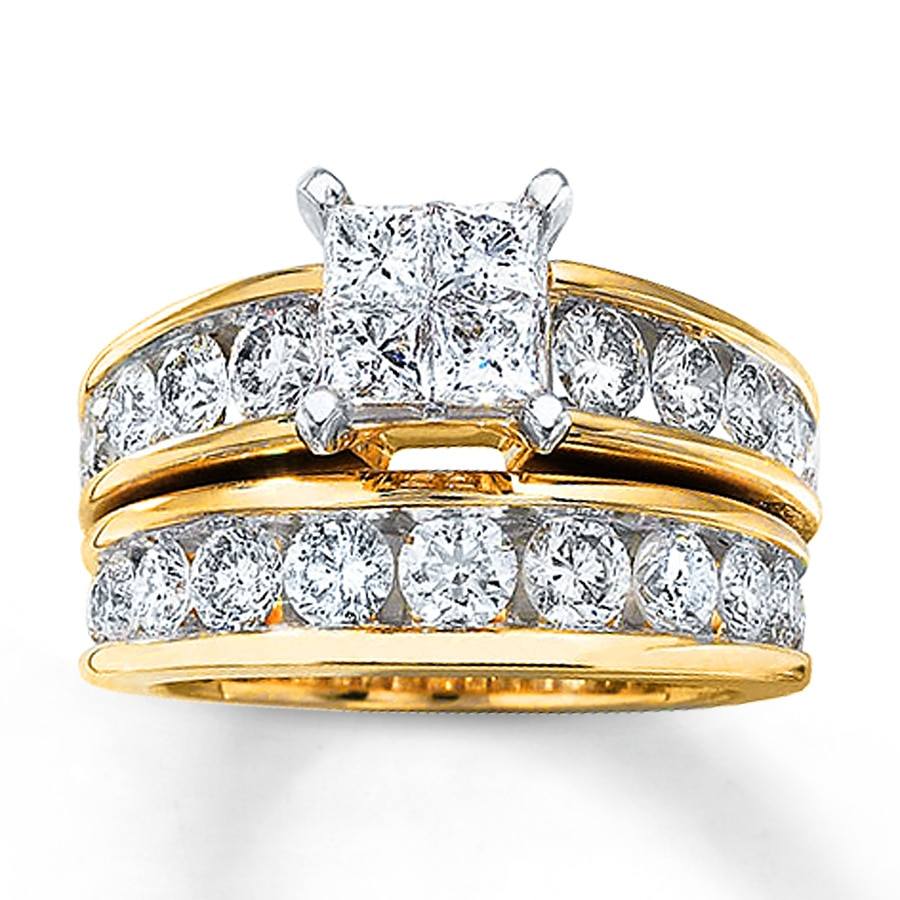 gold wedding rings sets bridal set 3 carats tw 14k yellow gold 80484000 4561