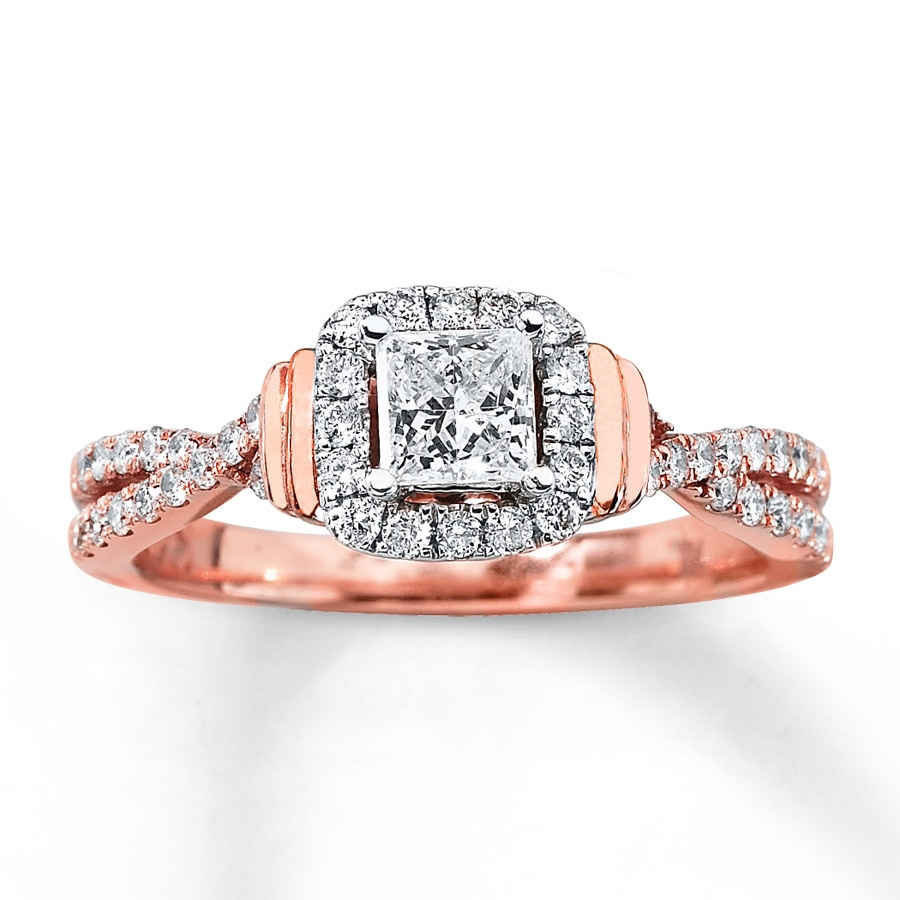 Diamond Engagement Ring 3 4 ct tw Princess-cut 14K Rose Gold ... 7046cd453930