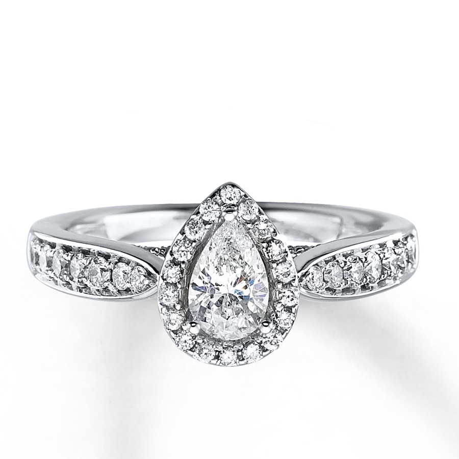 pave halo with gold shape rockher rings shank ring in white pear diamond engagement elevated