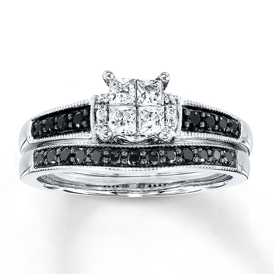diamond wedding ring set black white diamonds 5 8 ct tw bridal set 10k white gold 3519