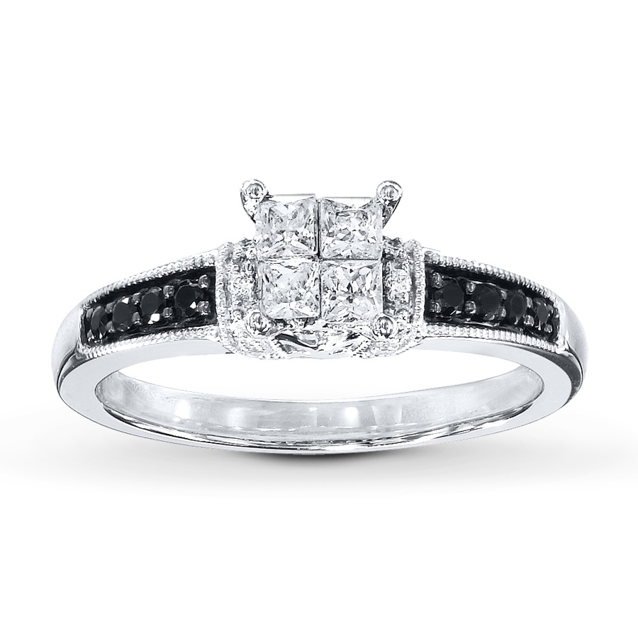 black white diamonds 1 2 ct tw engagement ring 10k white. Black Bedroom Furniture Sets. Home Design Ideas