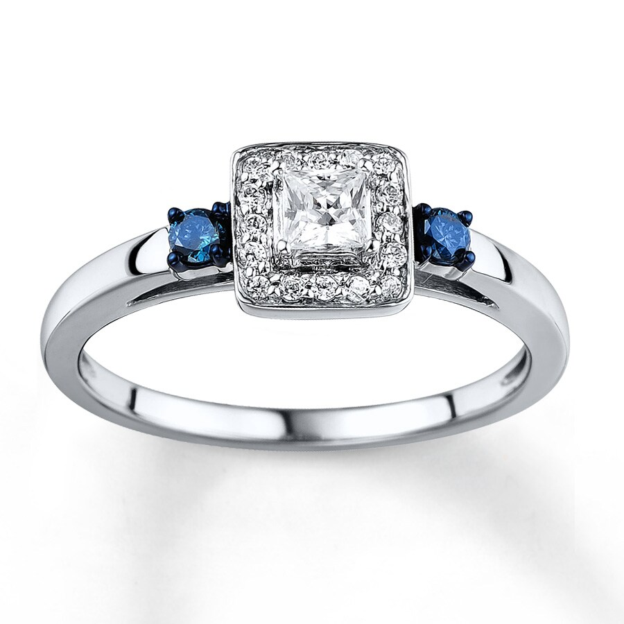 Kay Blue White Diamond Ring 1 3 Carat tw 10K White Gold