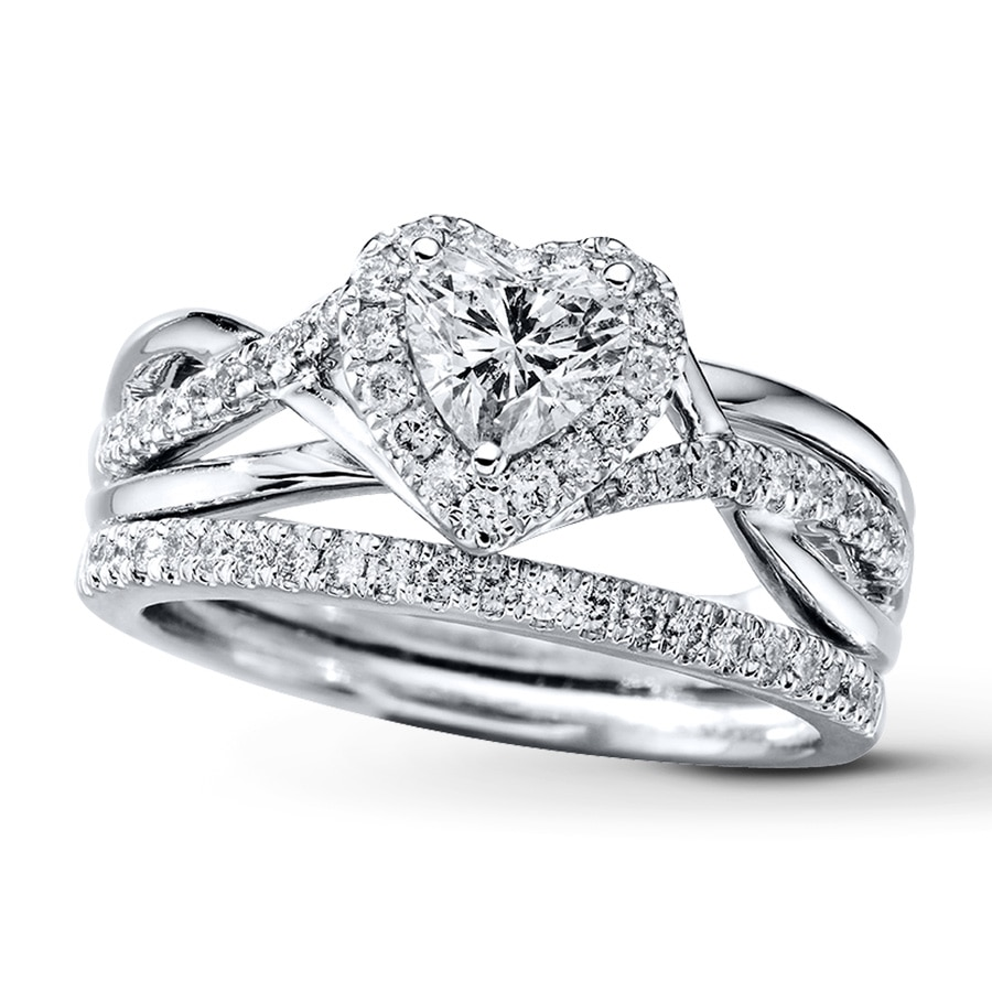 kay diamond bridal set 7 8 ct tw heart shaped 14k white gold