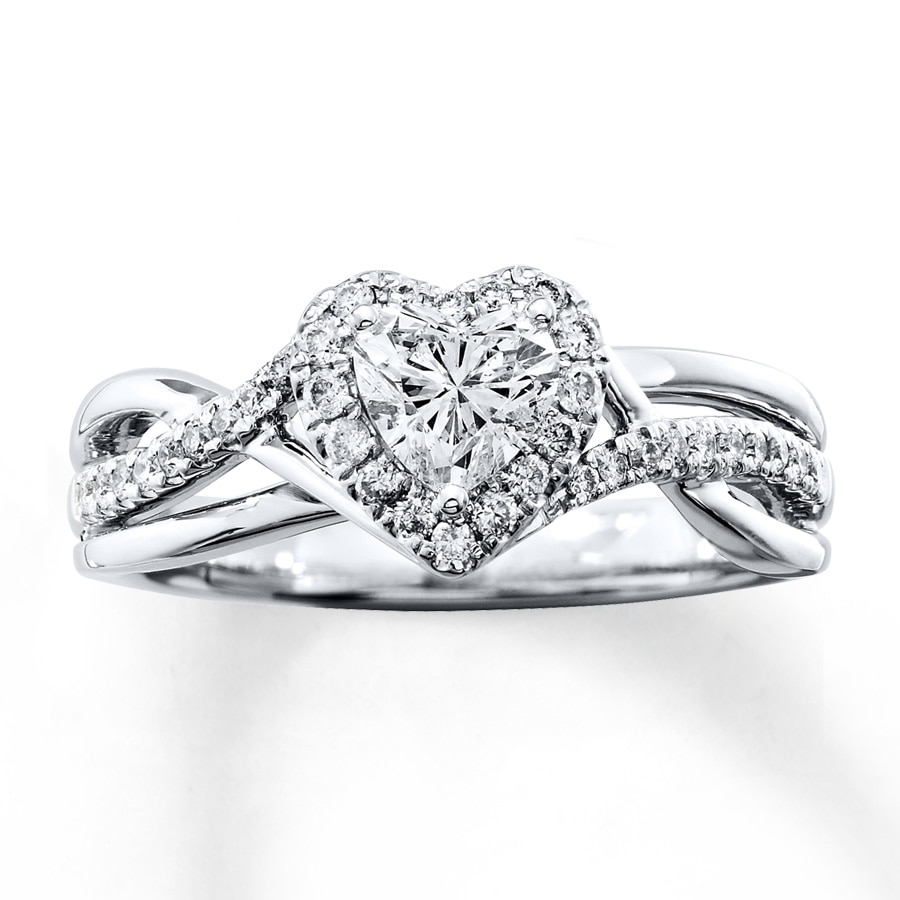 diamond engagement ring 34 ct tw heart shaped 14k white gold - Heart Shaped Wedding Rings