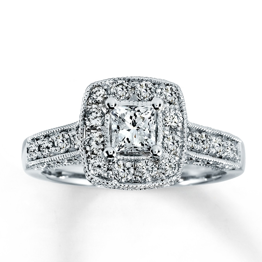 kay - diamond engagement ring 1 ct tw princess-cut 14k white gold