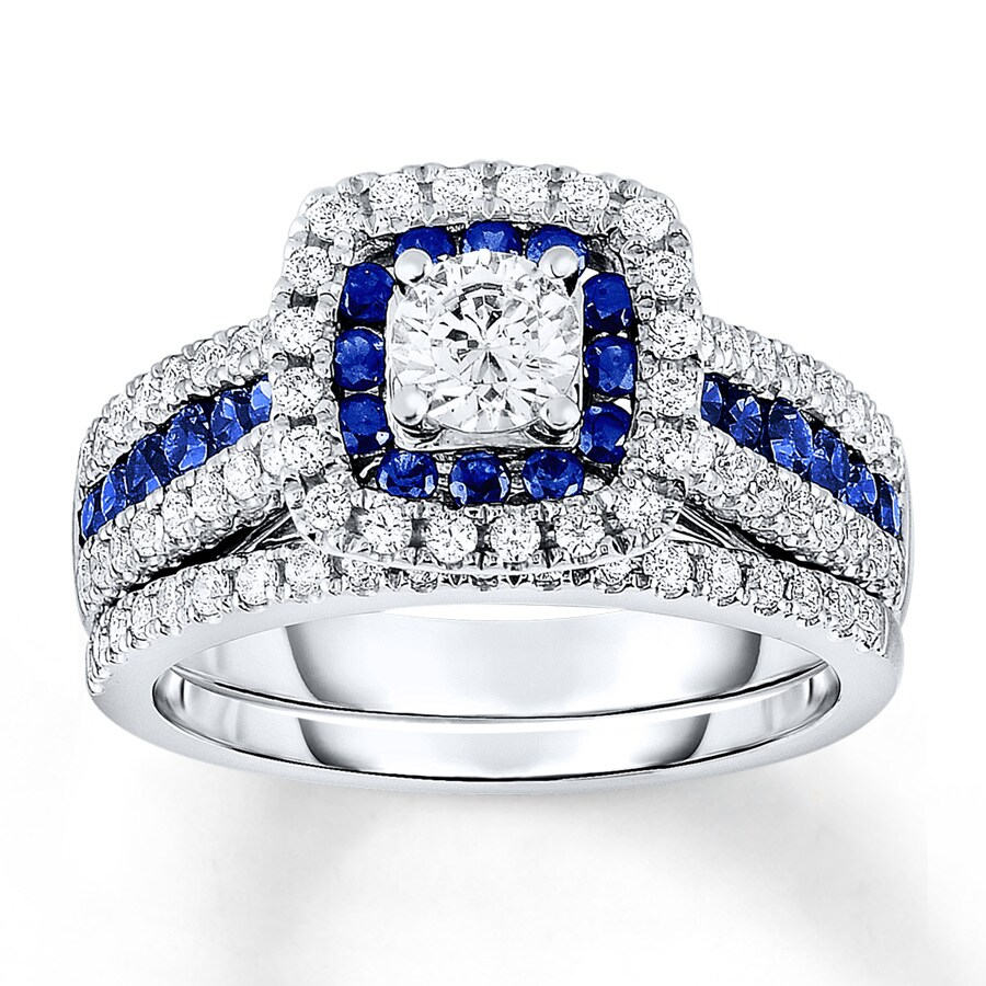 Kay Sapphire Bridal Set 1 Carat tw Diamonds 14K White Gold