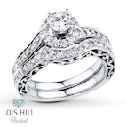 Lois Hill Bridal Set 1 1/2 ct tw Diamonds 14K White Gold
