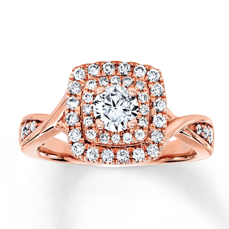 Kay Diamond Engagement Ring 3 4 ct tw Round cut 14K Rose Gold