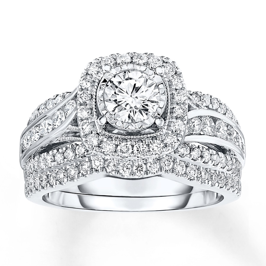 Diamond Bridal Set 1-3/8 Ct Tw Round-cut 14K White Gold