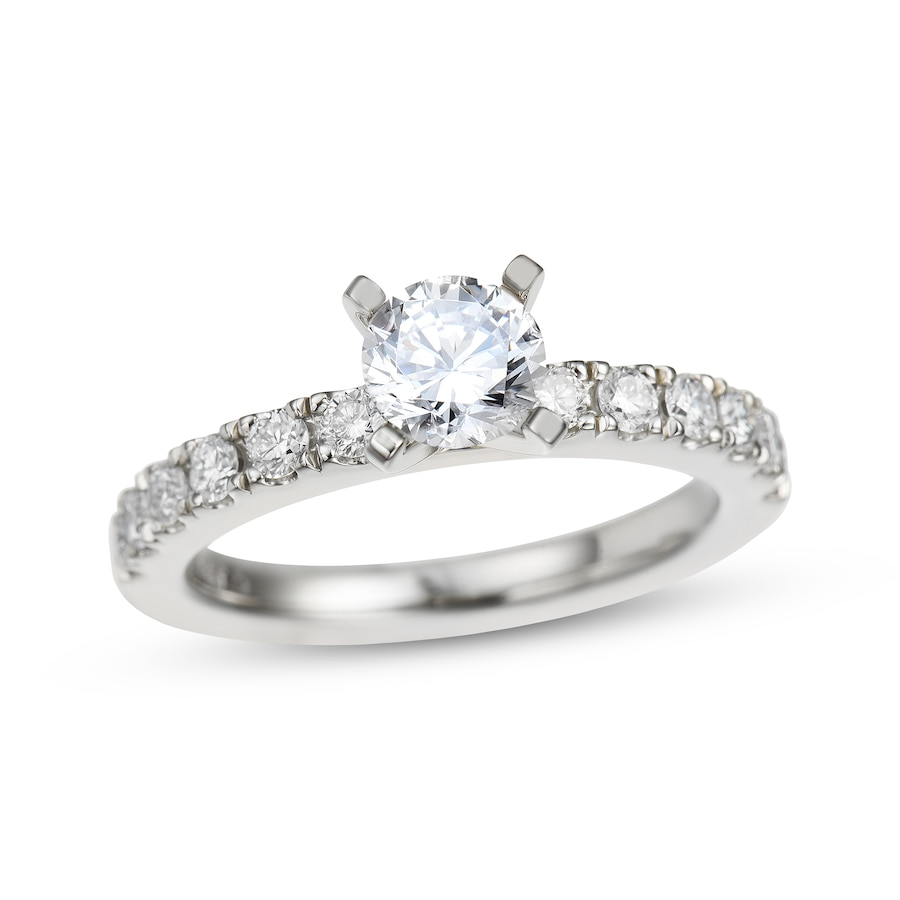Diamond Engagement Ring 1-1/8 Ct Tw Round-cut 14K White
