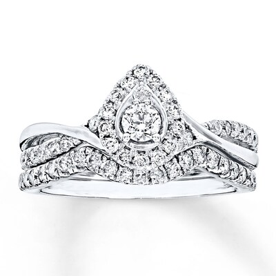 Bridal Set 5/8 ct tw Diamonds 14K White Gold