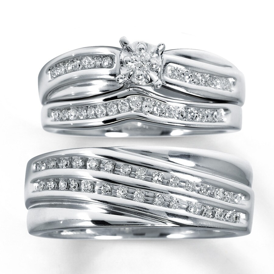 Kay Diamond Trio Wedding Set 13 ct tw RoundCut Sterling Silver