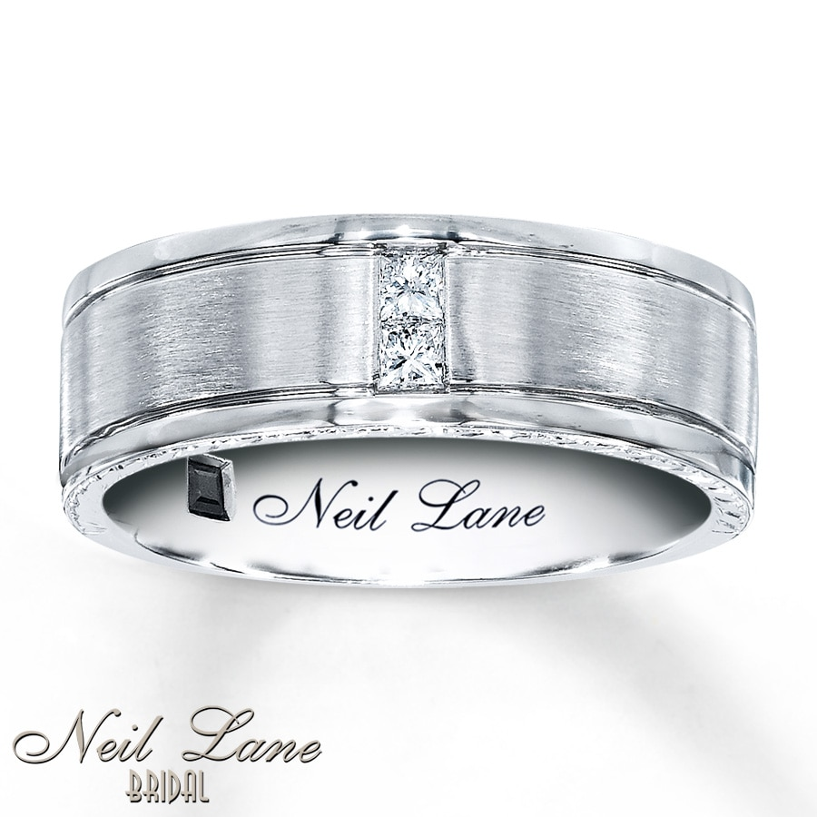 kay - neil lane men's band 1/8 ct tw diamonds 14k white gold, 7.5mm