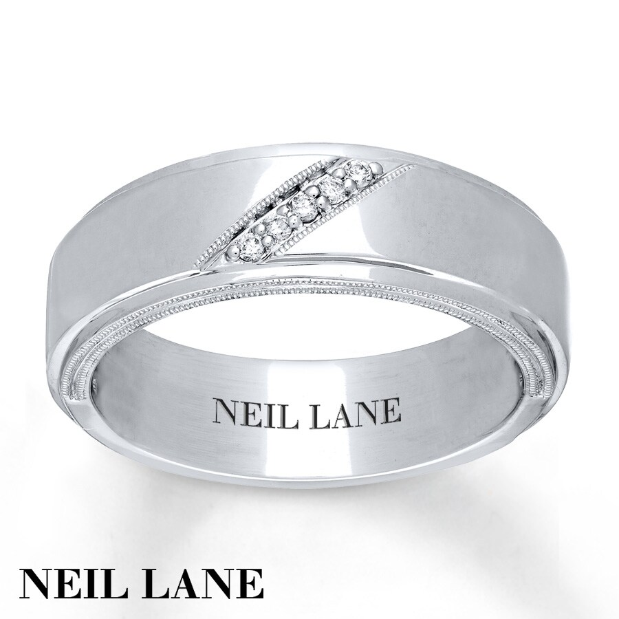 kay - neil lane men's band 1/20 ct tw diamonds 14k white gold