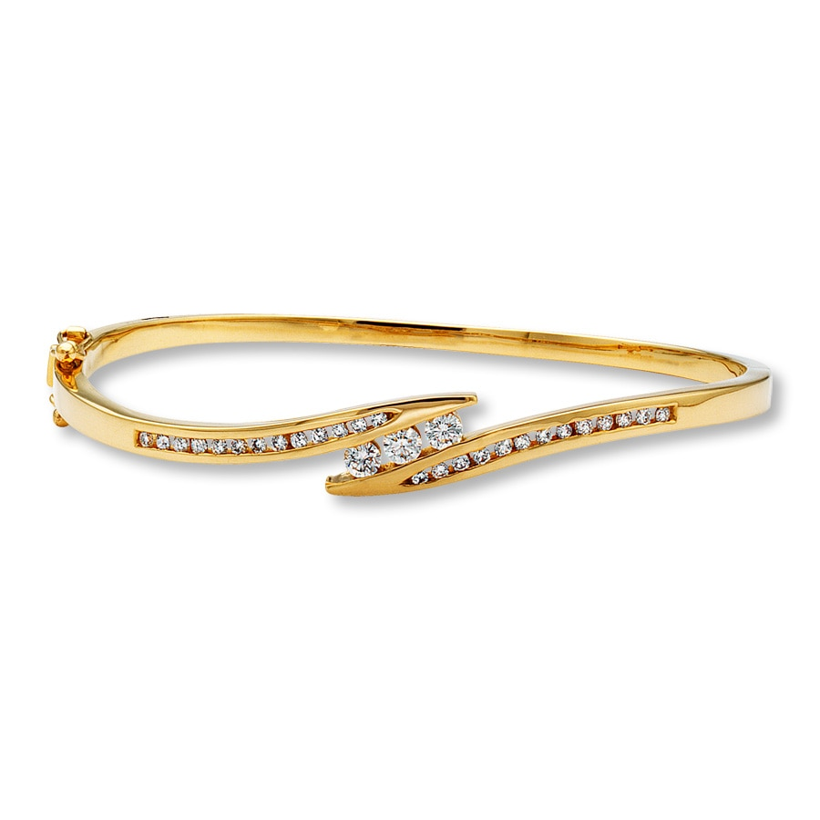 interlocking bracelet white category jewelry style lockport diamond mills yellow pattern ny bangle in bangles geometric bracelets gold product jewelers shop