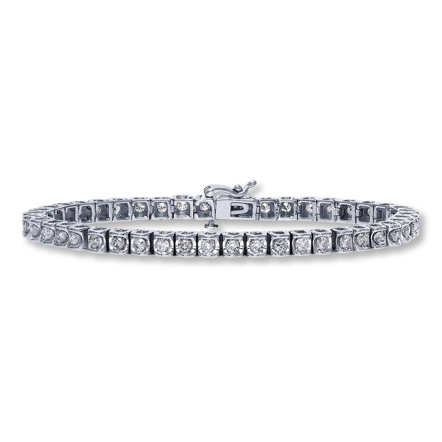 Diamond Bracelet 3 Ct Tw Round Cut 14k White Gold