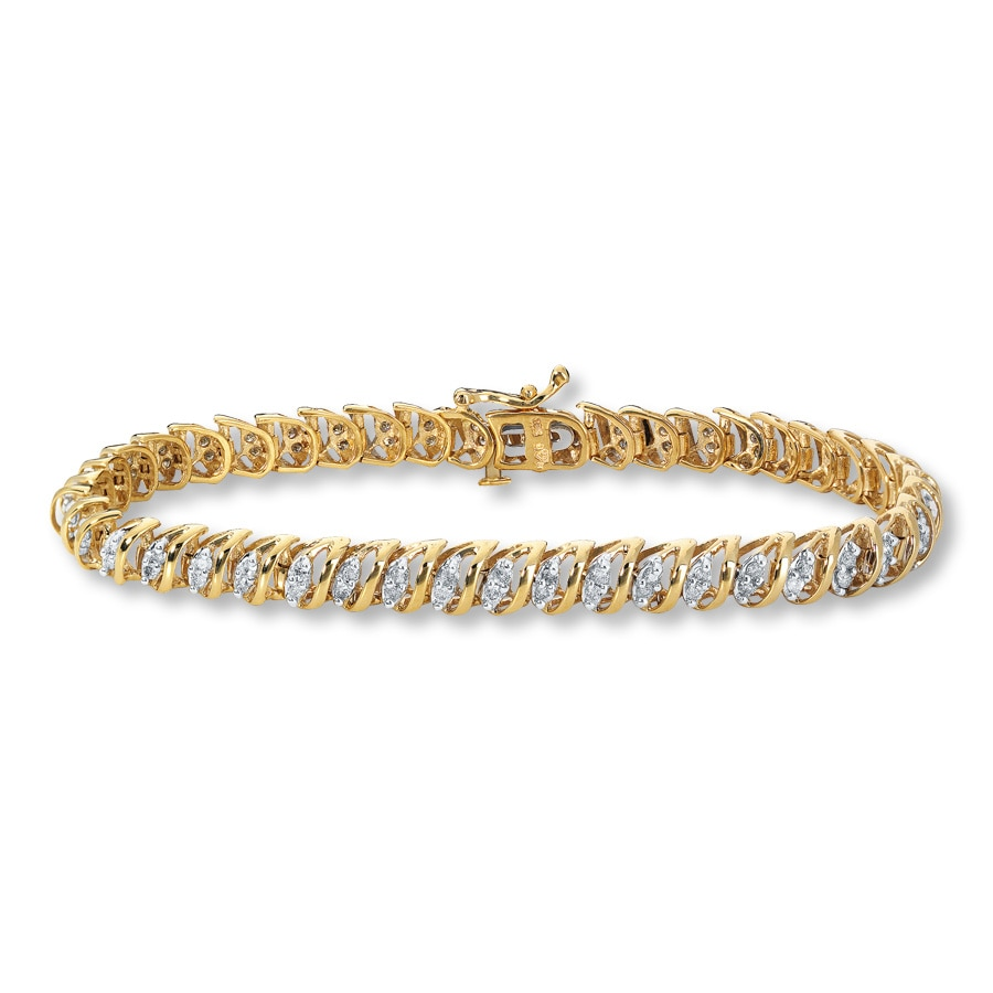 Diamond Bracelet 1 ct tw Round-cut 10K Yellow Gold ...