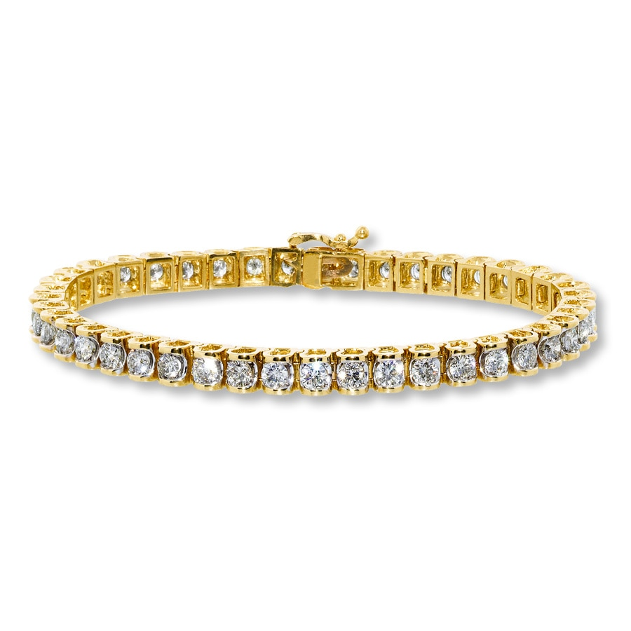Diamond Bracelet 5 Ct Tw Round Cut 14k Yellow Gold