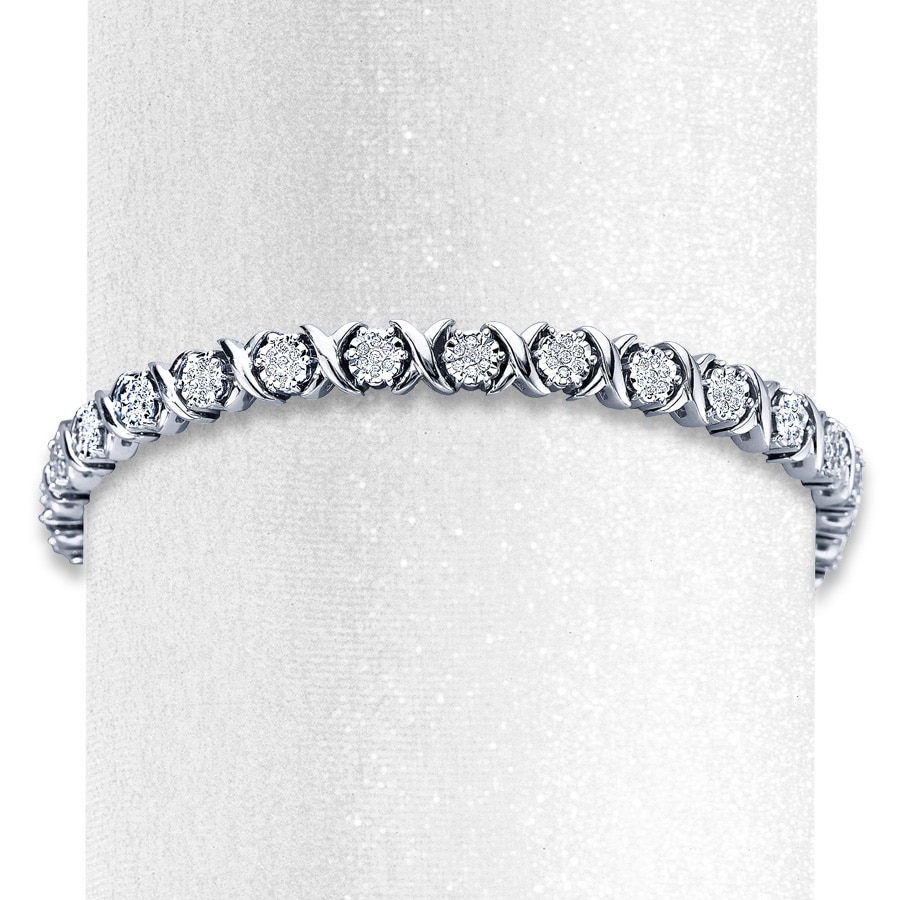 Diamond Bracelet 1 Ct Tw Round Cut Sterling Silver